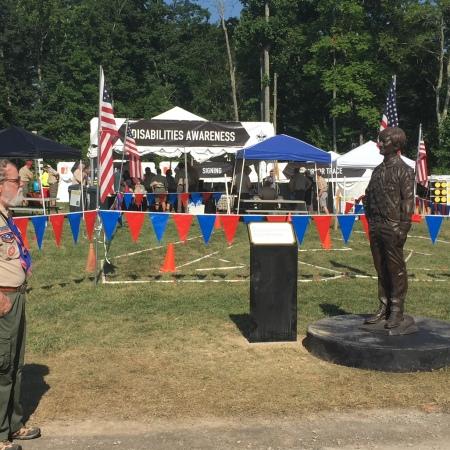 Stephen G. Marriott memorial with dAC volunteer