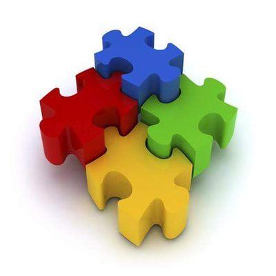 Puzzle pieces of different colors