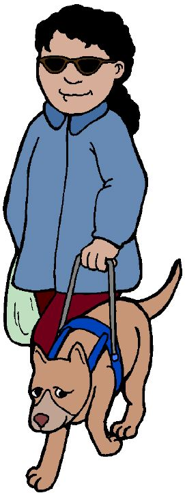 Blind person walking with dog