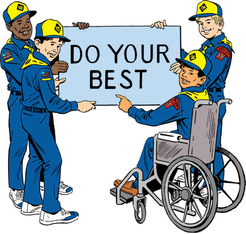 "Cubs with ""Do Your Best"" sign"
